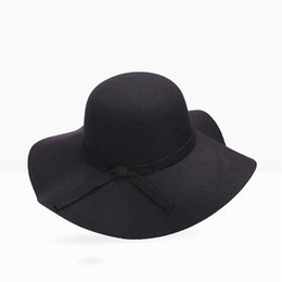c83b4c78eed Women Vintage Wool Fedora Hat Elegant White Autumn Winter Warm Korean  Fashion Wide Brim Female Solid Black Red Basic Bowler Hats