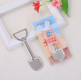 beach bottle opener wedding favors UK - 50PCS Silver Metal Sand Shovel Bottle Opener Beach Themed Wedding Favors Beer Openers In Gift Box FREE SHIPPING