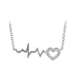 Venta al por mayor de collar de plata de ley maciza amor Latido del corazón cardiograma de óxido de circonio cúbico elegante joyería regalos para mujeres niñas