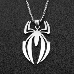 $enCountryForm.capitalKeyWord Australia - Hip Hop Spider-Man Stainless Steel Necklace Superhero Pendant New Jewelry Men's Long Necklace High-end Clothes Accessories Wholesale