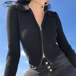 black spandex shorts women NZ - Imily Bela Knitted Sweater Jacket Women Black Zipper Short Cardigan Casual Sexy Turn Down Collar Bodycon Knitted Jacket Autumn SH190912