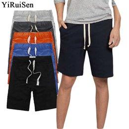 $enCountryForm.capitalKeyWord Australia - Yiruisen Brand Clothing Casual Shorts Men Cotton Drawstring Solid Color Mid Short Pants Summer Male Shorts Boardshort Bermudas Y19043003