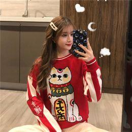 $enCountryForm.capitalKeyWord Australia - Women's Clothing Cute Kawaii Bf Red Lucky Cat Round Neck Sweater Lady Harajuku Ulzzang Sweaters For Women Thick Knitting Retro