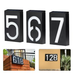 house numbers led lights Australia - Wholesale Solar Powered Wall Mount 6 LED Bulb Lamp Illumination Doorplate Lamp House Number Porch Lights House Hotel Door Outdoor Lighting