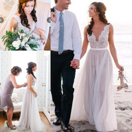 $enCountryForm.capitalKeyWord Australia - Simple 2019 Summer Beach A Line Wedding Dresses Illusion Bodice Lace Covered Buttons Back Modern Boho Bridal Wedding Gowns