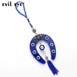 evil eye car pendant Australia - Evil Eye FREE SHIPPING 2018 Fashion Glass Horseshoe Shape Charm Car Keychain Jewelry Pendant With BULE EVIL EYE BEAD EY4734