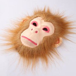 Monkey Halloween Costumes Canada - Cosplay Halloween Costume Realistic Fur Mane Latex Mask Creepy Animal Tiger Lion Monkey Wolf Partern Full Face