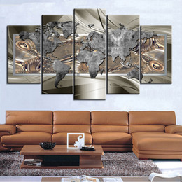 $enCountryForm.capitalKeyWord Australia - Abstract Art Silver World Map 5 Panel Canvas Painting Home Office Wall Decor Art Print Poster Picture (No Frame)