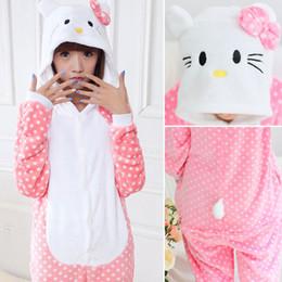 3eaed0051 Winter New Hello Kitty Costume For Women Pyjama Pajamas Flannel Hooded  Clothing For Home Adult Children Cute Animal Onesie Sleepwear