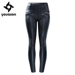 $enCountryForm.capitalKeyWord UK - 2204 Youaxon Eu Size Chic Motorcycle Biker Pu Leather Jeans With Zipper Opening Women`s Plus Size Black Pants Trousers For Women MX190712