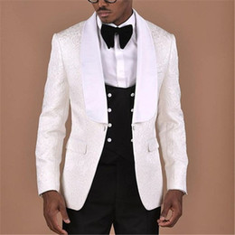 $enCountryForm.capitalKeyWord Australia - White Pattern With Double Breasted Black Vest Men Suit 3pieces Groom Tuxedos Groomsmen Wear Wedding Blazer Suits For Men
