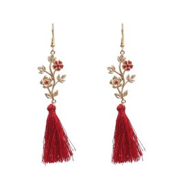 $enCountryForm.capitalKeyWord NZ - Flower Vine Red Diamond Long Tassel Earring Dangle 2019 New Fashion Fringe Earrings Jewelry For Women Wedding Temperament Eardrop Gifts