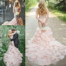 $enCountryForm.capitalKeyWord Australia - Sweetheart Mermaid Wedding Dresses With Ruffled Train Sweetheart and Lace Up Sleeveless Bridal Gowns Custom Made
