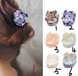 $enCountryForm.capitalKeyWord Australia - 6Pcs New Fashion Women Shell Hair Claws Clip Resin Floral Print Clips Grips Ponytail Hairpins Shell Barrettes