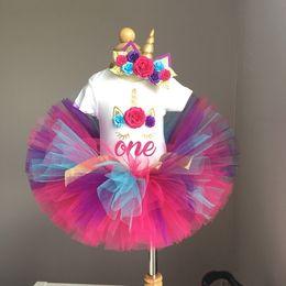 $enCountryForm.capitalKeyWord Australia - My Girl Baby First Birthday Unicorn Dress for Girl Kids Baptism Infant Unicornio Tulle Costume Cake Smash Outfits Tutu Dresses