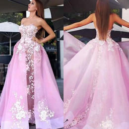 Empire Lace Applique Dress Australia - Pink Empire Evening Dresses with Detachable Train Sweetheart Lace Appliques Organza Celebrity Dress Sweep Train Long Prom Gowns