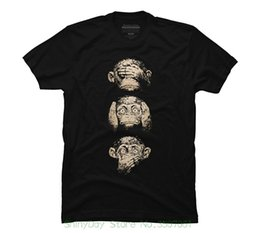 Vente en gros T-shirts 2018 de la marque de vêtements Slim Fit Impression 3 T-shirt graphique hommes sage singes -