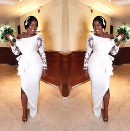 Wholesale b train online – design African Off The Shoulder Satin Mermaid Wedding Dresses Sheer Long Sleeves Lace Applique Split Sweep Train Arabic Wedding Bridal Gowns B