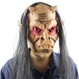 Back Hair Men Australia - Yeduo Halloween Horror Masks Scary Mask Halloween Toothy Zombie with Long Hair Devil Ghost