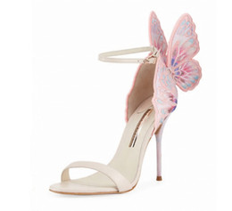 pink black butterfly dress NZ - Sophia Webster Black Pink Butterfly Winged Embroidery High Heeled Ladies Dress Wedding Party Sandals Straps Gladiator Women Evening Sandals