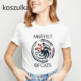 $enCountryForm.capitalKeyWord NZ - MOTHER OF CATS Print Cotton T Shirt Mother of Dragons Tshirt Women Short Sleeve Streetwear Unique Tees Vogue Dracarys Tshirt