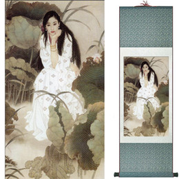 Chinese Water Painting Australia - Pretty Girl Art Painting Chinese Art Painting Home Office Decoration Chinese Painting Natural Beauty Woman And Water Liliy