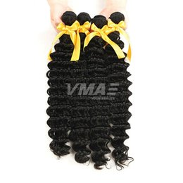 Human Hair Deep Wet Weave UK - Virgin Deep Wave VMAE Hair Weaving Brazilian wet and wavy 3 Pieces Lot 100% Unprocessed Black Human curly Hair Extensions