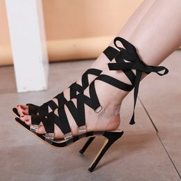 $enCountryForm.capitalKeyWord Australia - 2019 New black ankle wrap PVC lace up high heels gladiator sandals pink wedding shoes size 35 to 40