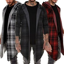 Wholesale plaid trench coat men for sale - Group buy Stylish Men Hoodie Warm Hooded Tops Plaid Open Stitch Coat Jacket Casual Outwear Overcoat Trench