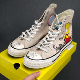 Hand painted women body online shopping - New Cute Designer Simpson x Convas s Hi Donuts Hand painted Limited Figurines Casual Sneakers Mens Women Skateboard Sport Shoes