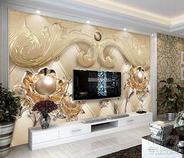 $enCountryForm.capitalKeyWord NZ - Custom Wall Mural Large Wall Painting Modern 3D Stereoscopic Elegant and beautiful jewelry flower TV backg Living Room TV Backdrop Wallpaper