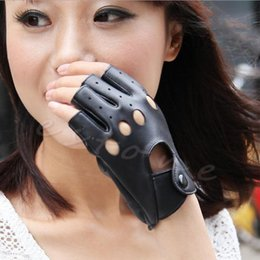 Leather Half Gloves Australia - New 2018 arrival Women Half Finger Driving Gloves PU Leather Fingerless Guantes Mittens