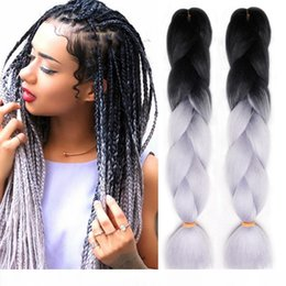 xpression kanekalon braiding hair ombre Australia - A Ombre Xpression Braiding Hair Two human Tone Jumbo Crochet Braids Synthetic Hair Extensions 24 Inches Box Braid 100% Kanekalon Braidi