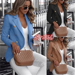 Wholesale black white plus clothes online – Plus Size Women Blazers Solid Color Double Breasted Womens Tops Laple Neck Female Clothing New Arrival