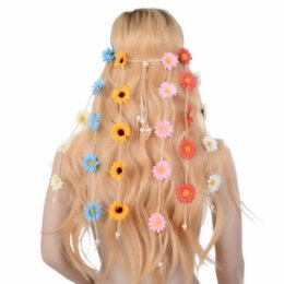 hippie hair bands NZ - Fashion Simple Indian Flower Headband Hair Accessories 2018 Festival Women Hippie Adjustable Headdress Boho Sunflower Hair Band