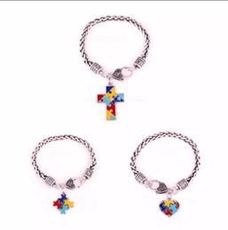 $enCountryForm.capitalKeyWord Australia - Autism Awareness Puzzle Jigsaw Classic Silver Plated Fashion Square Enamel Charm Bracelet Jewelry B238