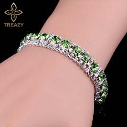 $enCountryForm.capitalKeyWord Australia - TREAZY Charm Green Crystal Bracelets For Women Silver Plated Bracelets & Bangles Bridal Wedding Prom Jewelry Accessories