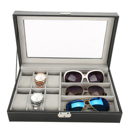 Watch Organizers Australia - Simple 3 Grids Glasses 6 Cell Watch Display Storage Box Jewelry Watch Organizer Box Case Holder PU Leather for storage