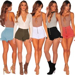 peaux jeans achat en gros de-news_sitemap_home2pcs Femmes Denim Shorts bouton moulants Shorts Sexy Summer Fashion Jeans en couleurs SS NOUVEAU