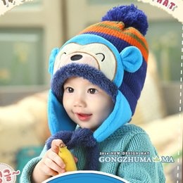$enCountryForm.capitalKeyWord Australia - Newborn Baby Handmade Crochet Earflap Hat Winter Cap Cartoon Monkey Beanies 13