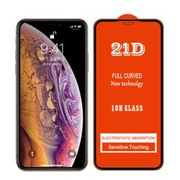 $enCountryForm.capitalKeyWord NZ - For iPhone XS Max XR XS 21D Full Glue Full Coverage Tempered Glass Protector Film For Samsung S10E A10 A30 A40 M30 A50