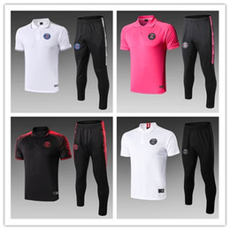 Soccer Training Shirts Australia - 19 20 PSG Paris Thai quality Champions League football training suit Survetement MBAPPE Short sleeve POLO shirt long pant soccer tracksuit