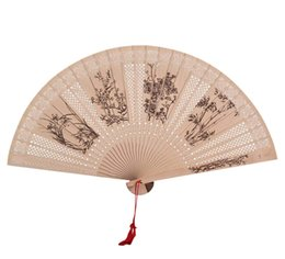 $enCountryForm.capitalKeyWord UK - Chinese Style Folding Fan Exquisite Hollow Wooden Ancient Style Fan Sandalwood Decoration Summer Portable Small Folding Fan Creative Gift