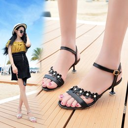 SandalS flower covering toe online shopping - Overseas2019 Woman Toe Flower Fine High With Sandals One Outside The Buckle Clothes Women s Shoes