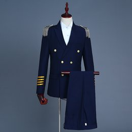 carnival uniforms Australia - Freeship mens navy white captain uniform tuxedo jacket with pants stage performance studio suit asia size