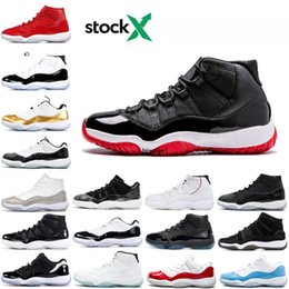 sports shoes breathable mesh UK - 11 Mens 11s Basketball Shoes New Concord 45 Platinum Tint Space Jam Gym Red Win Like 96 XI Designer Sneakers Men Sport Shoes