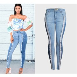 office trouser for women 2020 - 2020 NEW Plus Size Fashion Tassel Jeans Women Stretchy Patchwork Denim Skinny Pencil Pants Office Lady Trousers For Fema