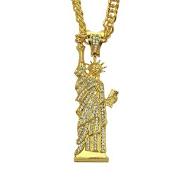 Liberty Alloys Australia - Punk Alloy Crystal Statue of Liberty Pendant Necklace Men Personality Gold Cuban Link Chain Hip Hop Jewelry Party Gift CX659