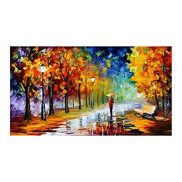 "hand painted romantic canvases UK - 24""*48""Hand-painted canvas mural decoration romantic couples walk in the woods of forest landscape study sitting room porch decoration"