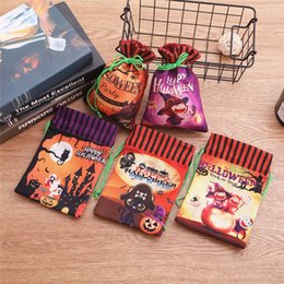 drawstring packaging bags wholesale UK - 2019 Halloween Drawstring Candy Bags Non-woven Pouch Gifts Packages Ghost Pumpkin Witch Hallowmas Party Decors Treat Or Trick Pockets B82102